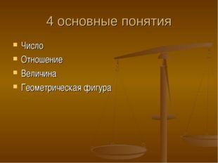 4 основные понятия Число Отношение Величина Геометрическая фигура