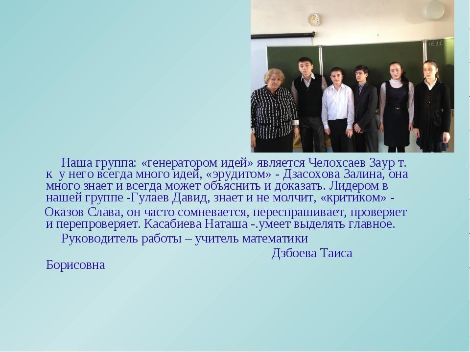 Наша группа: «генератором идей» является Челохсаев Заур т. к у него всегда м...