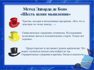 Метод Эдварда де Боно «Шесть шляп мышления» Чувства, догадки и интуитивные п