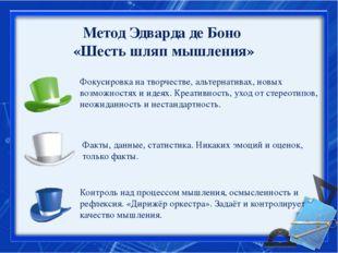 Метод Эдварда де Боно «Шесть шляп мышления» Фокусировка на творчестве, альте
