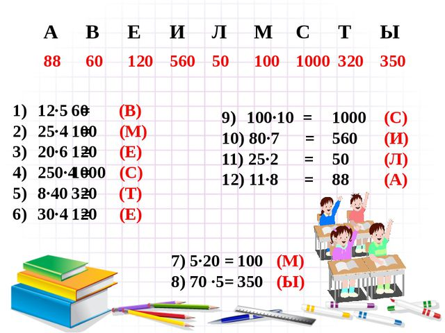 12∙5 = 25∙4 = 20∙6 = 250∙4 = 8∙40 = 30∙4 =  60 (В) 100 (М) 120 (Е) 1000 (С)...