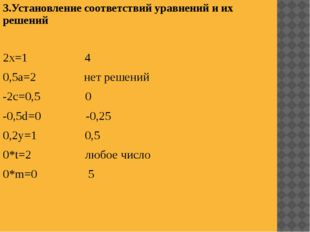 3.Установление соответствий уравнений и их решений 2х=1 4 0,5а=2 нет решений