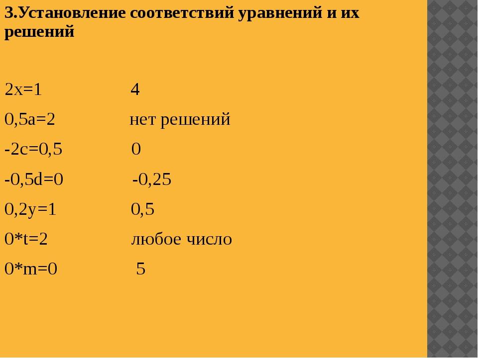 3.Установление соответствий уравнений и их решений 2х=1 4 0,5а=2 нет решений...
