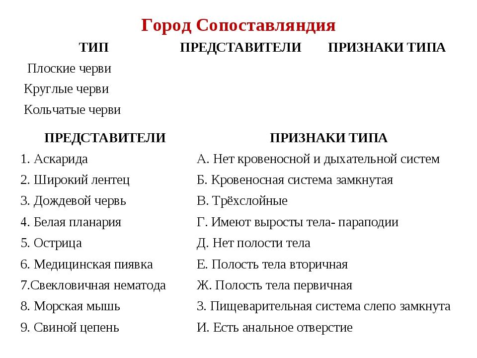 Город Сопоставляндия ТИППРЕДСТАВИТЕЛИПРИЗНАКИ ТИПА Плоские черви Круглые...