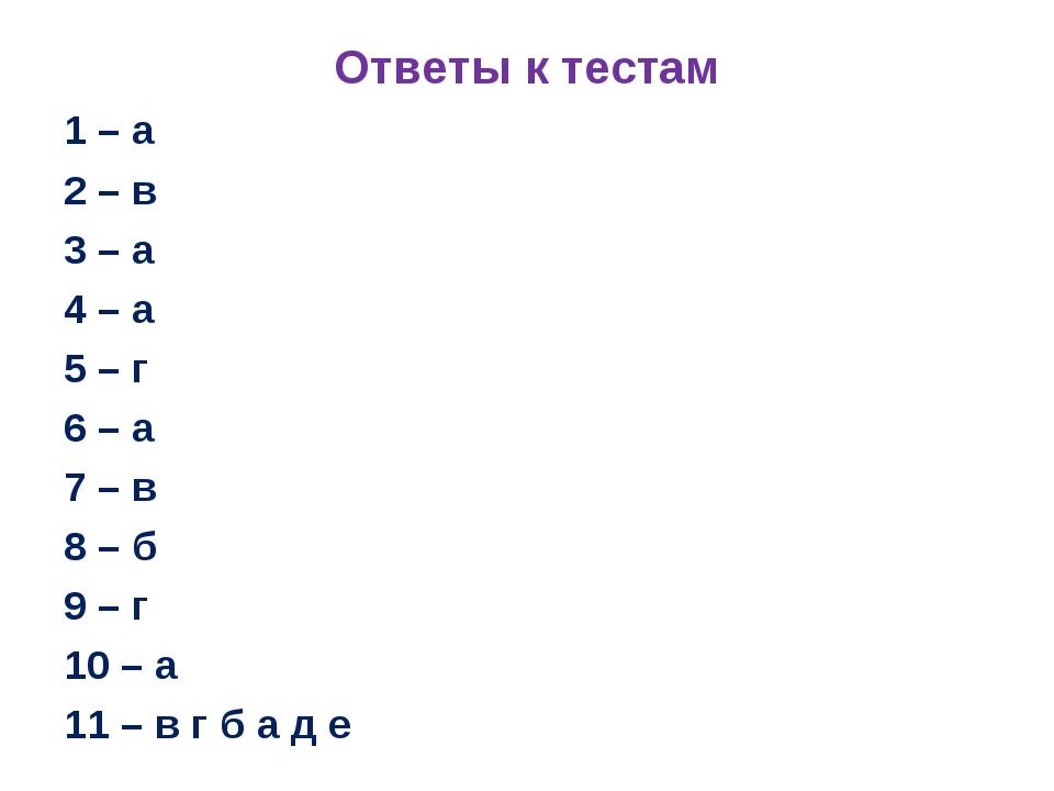Ответы к тестам 1 – а 2 – в 3 – а 4 – а 5 – г 6 – а 7 – в 8 – б 9 – г 10 – а...