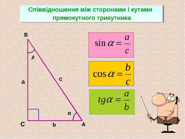 с а α b Співвідношення між сторонами і кутами прямокутного трикутника