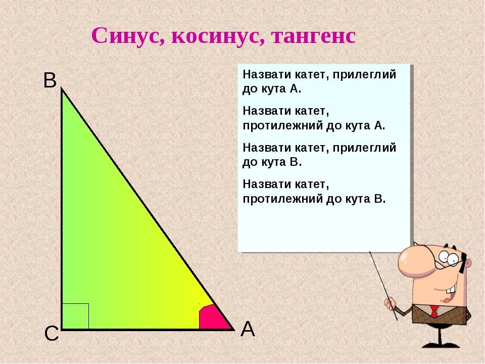 C B A Назвати катет, прилеглий до кута А. Назвати катет, протилежний до кута...