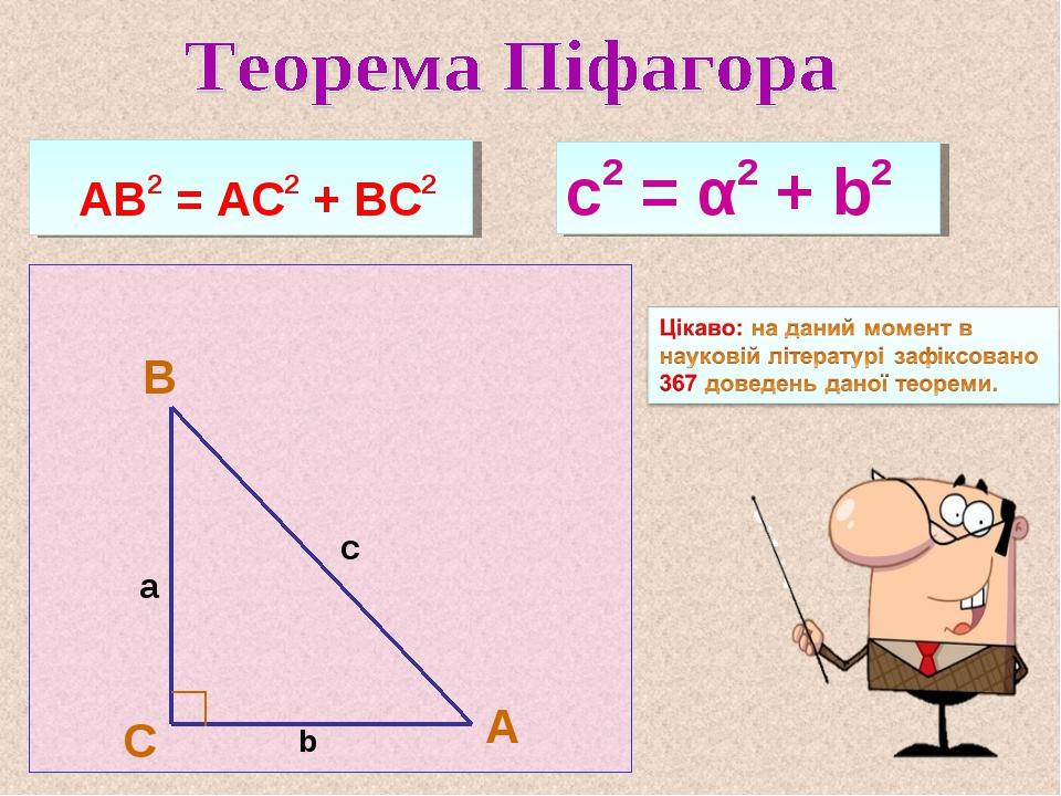 А В С а с2 = α2 + b2 АВ2 = АС2 + ВС2 с b