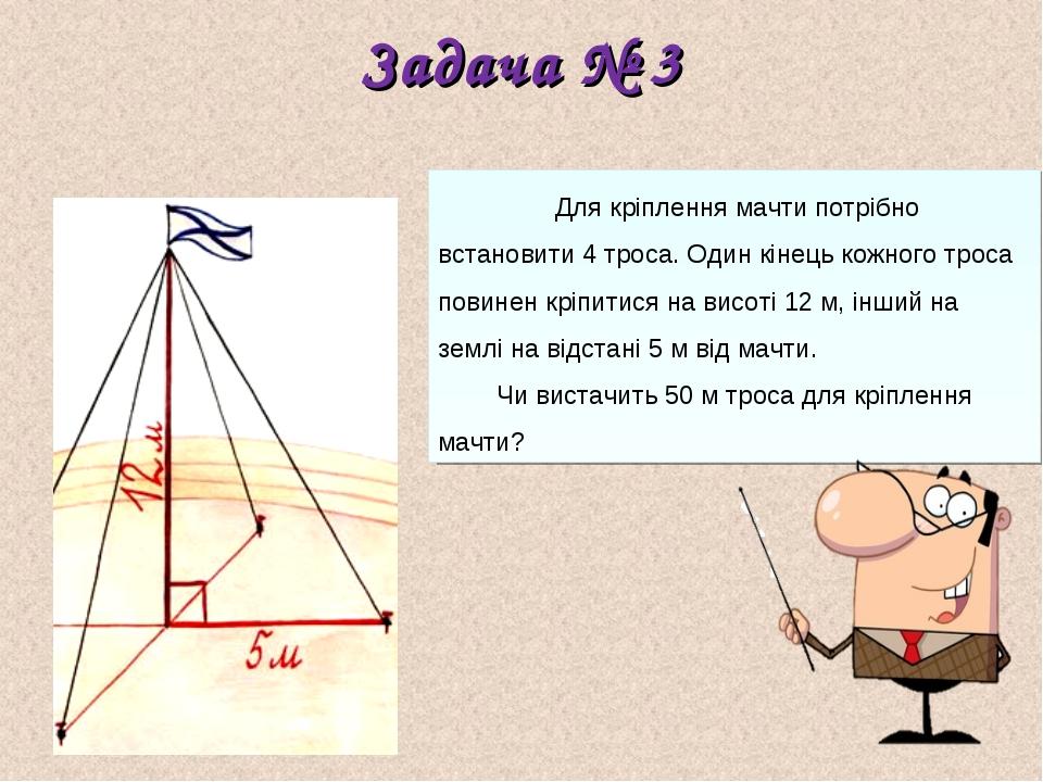 Задача № 3 Для кріплення мачти потрібно встановити 4 троса. Один кінець кожно...