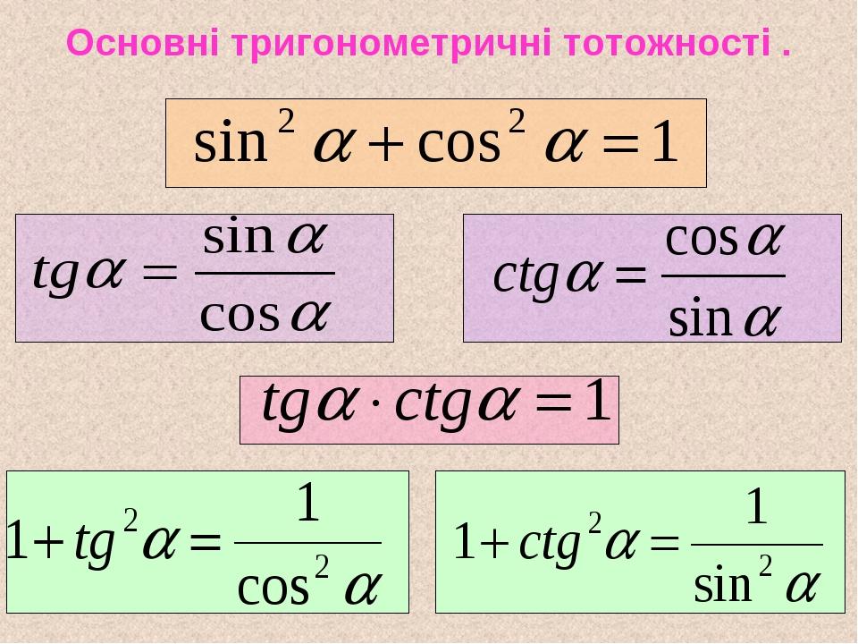 Основні тригонометричні тотожності .