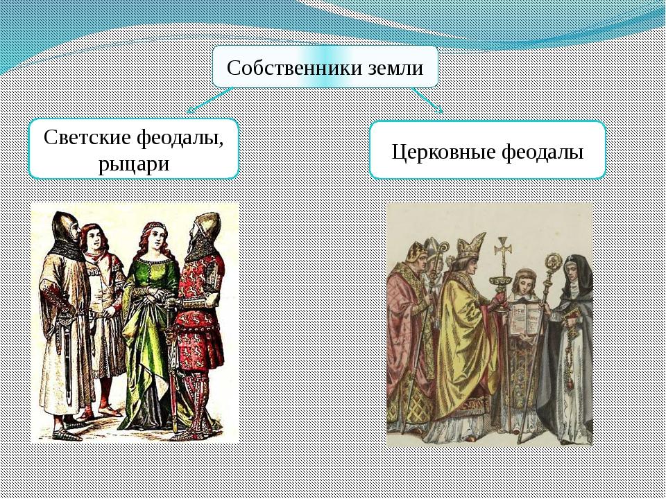 Собственники земли Светские феодалы, рыцари Церковные феодалы