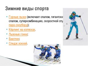 Горные лыжи(включает слалом, гигантский слалом, суперкомбинацию, скоростной
