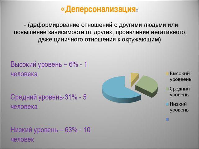 «Деперсонализация» Высокий уровень – 6% - 1 человека Средний уровень-31% - 5...