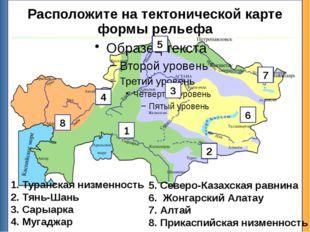 Расположите на тектонической карте формы рельефа Туранская низменность Тянь-Ш