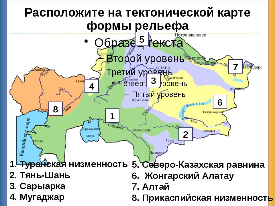Расположите на тектонической карте формы рельефа Туранская низменность Тянь-Ш...