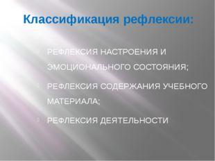 Классификация рефлексии: РЕФЛЕКСИЯ НАСТРОЕНИЯ И ЭМОЦИОНАЛЬНОГО СОСТОЯНИЯ; РЕФ
