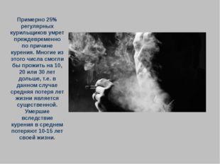 Примерно 25% регулярных курильщиков умрет преждевременно по причине курения.