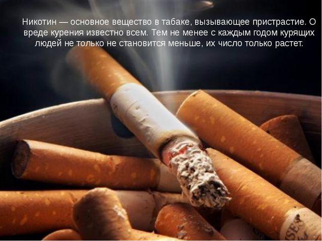 Никотин — основное вещество в табаке, вызывающее пристрастие Никотин — основн...