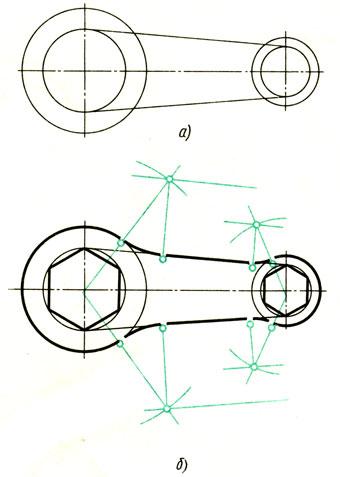 Рис. 77. Последовательность построения чертежа, содержащего сопряжения