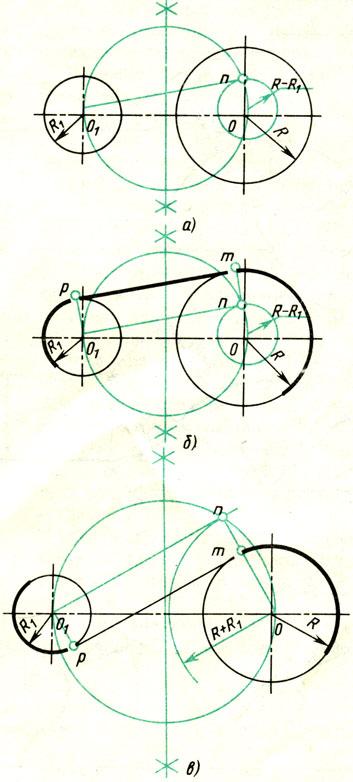 Рис. 67. Построение касательной к двум окружностям