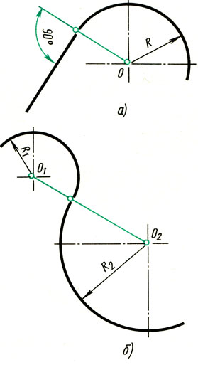 Рис. 64. Определение точки сопряжения