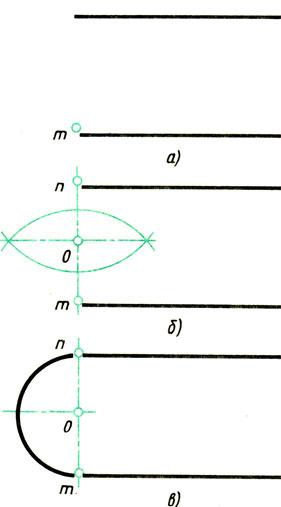 Рис. 66. Сопряжение двух параллельных прямых