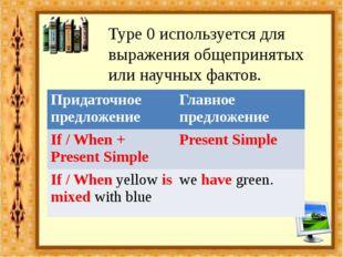 Type 0 используется для выражения общепринятых или научных фактов. Придаточно