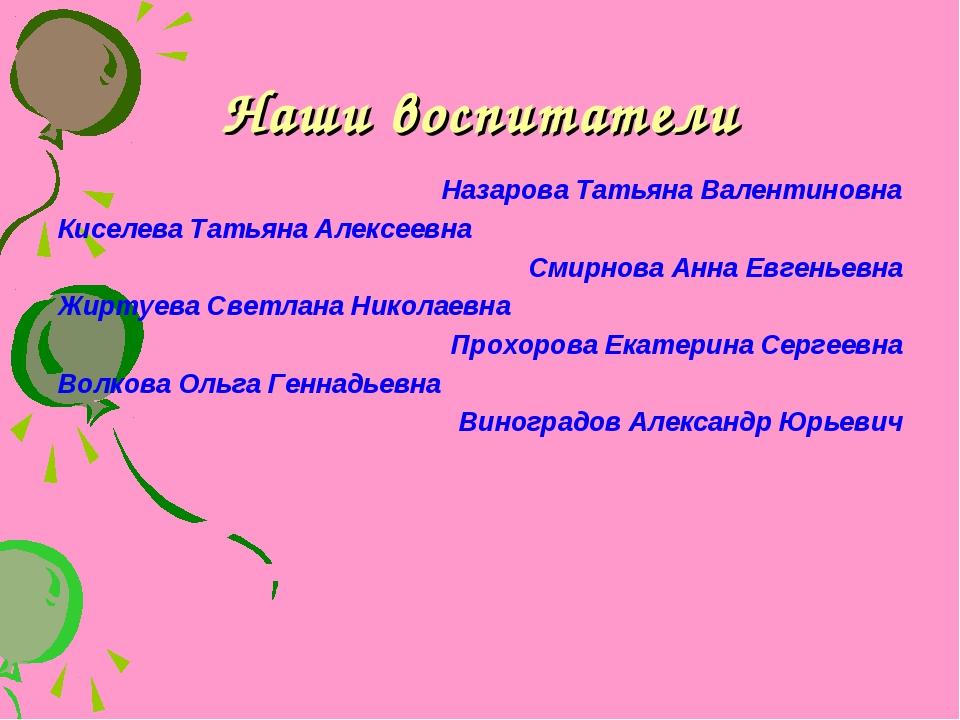 Наши воспитатели Назарова Татьяна Валентиновна Киселева Татьяна Алексеевна См...