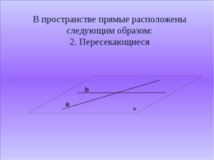 В пространстве прямые расположены следующим образом: 2. Пересекающиеся