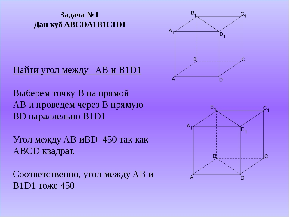 Задача №1 Дан куб ABCDA1B1C1D1 Найти угол между AB и B1D1 Выберем точку B на...