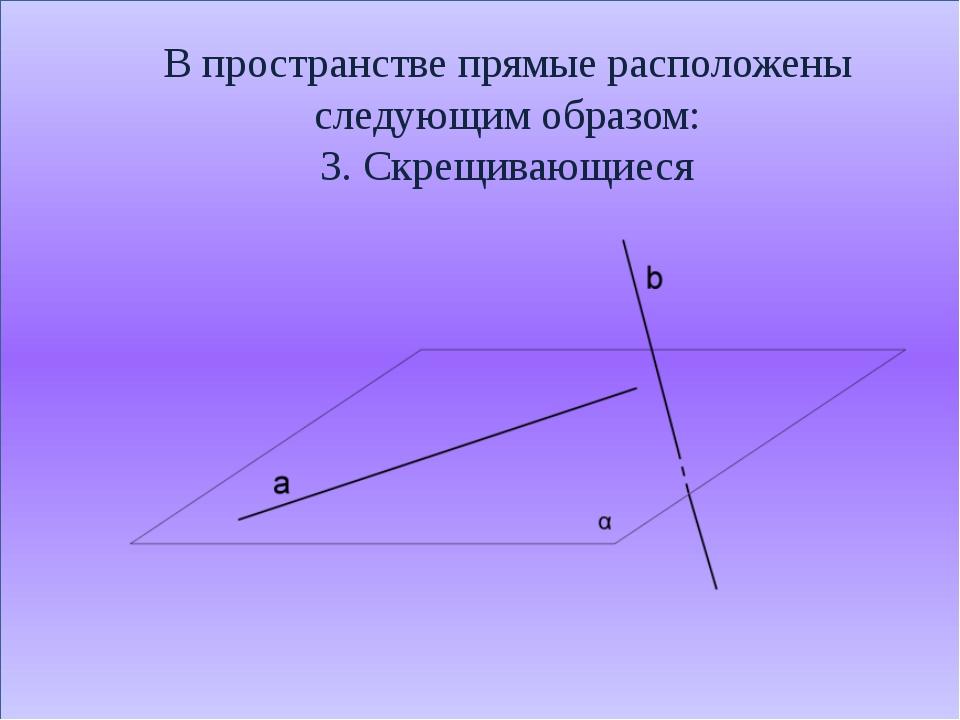 В пространстве прямые расположены следующим образом: 3. Скрещивающиеся