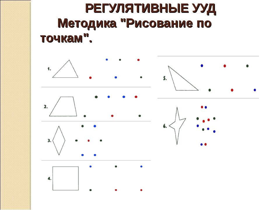 """РЕГУЛЯТИВНЫЕ УУД Методика """"Рисование по точкам""""."""