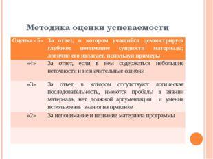 Методика оценки успеваемости Оценка «5» За ответ, в котором учащийся демонстр