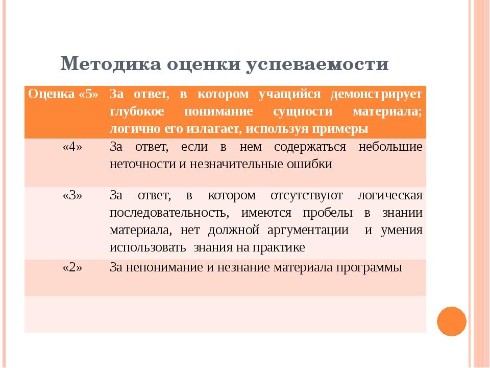 Методика оценки успеваемости Оценка «5» За ответ, в котором учащийся демонстр...