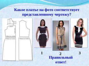 Какое платье на фото соответствует представленному чертежу? 1 2 3 Правильный