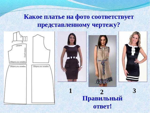 Какое платье на фото соответствует представленному чертежу? 1 2 3 Правильный...