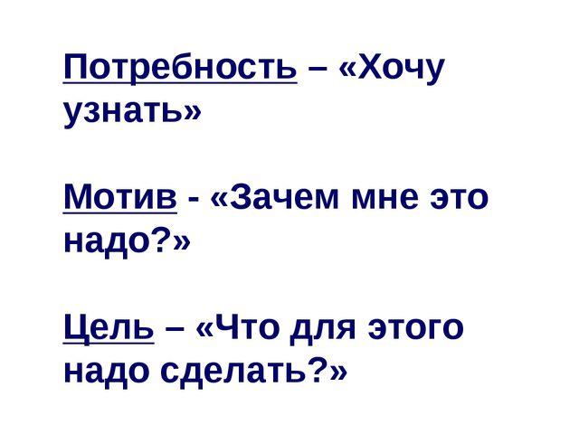 Потребность – «Хочу узнать» Мотив - «Зачем мне это надо?» Цель – «Что для это...
