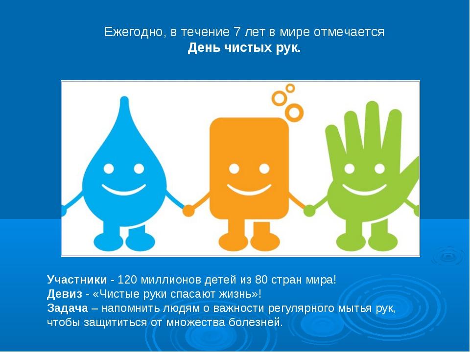 Участники - 120 миллионов детей из 80 стран мира! Девиз - «Чистые руки спасаю...