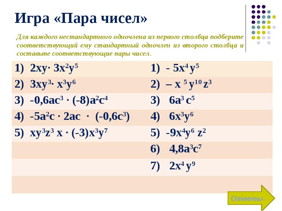 Игра «Пара чисел» Ответы Для каждого нестандартного одночлена из первого стол...
