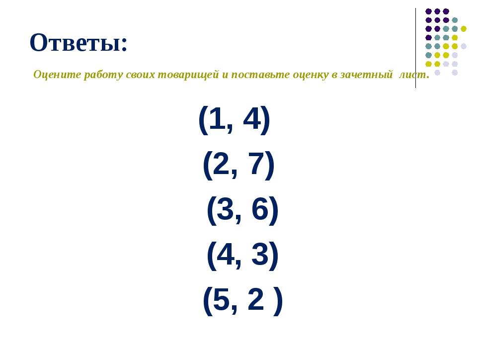 Ответы: (1, 4) (2, 7) (3, 6) (4, 3) (5, 2 ) Оцените работу своих товарищей и...