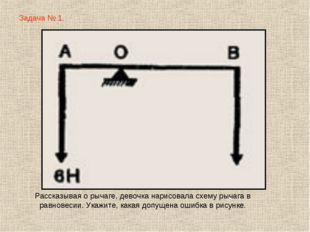 Задача № 1. Рассказывая о рычаге, девочка нарисовала схему рычага в равновеси