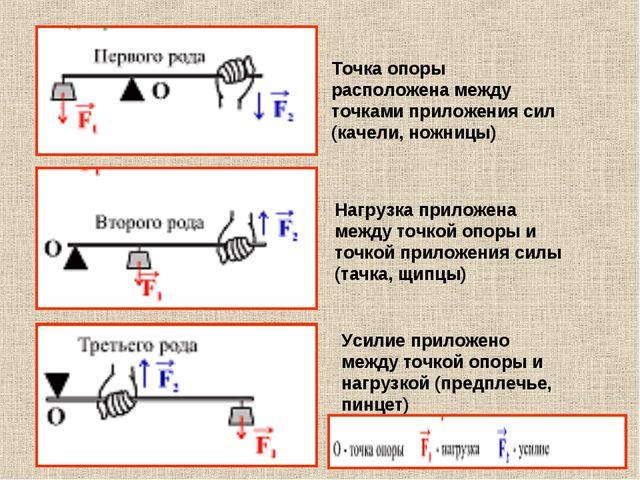 Точка опоры расположена между точками приложения сил (качели, ножницы) Нагруз...