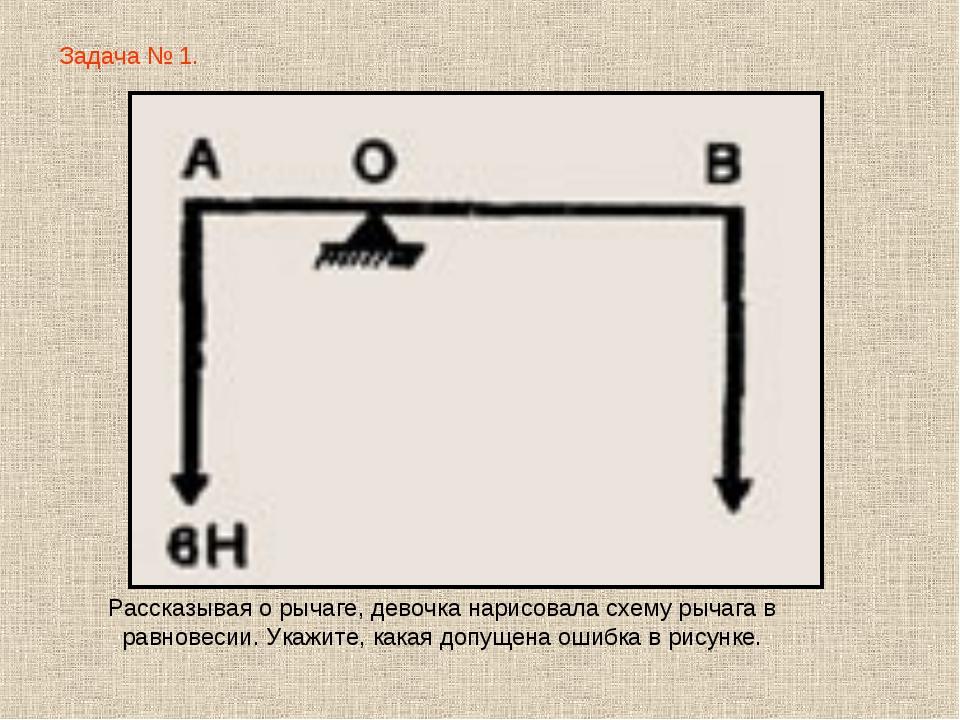 Задача № 1. Рассказывая о рычаге, девочка нарисовала схему рычага в равновеси...