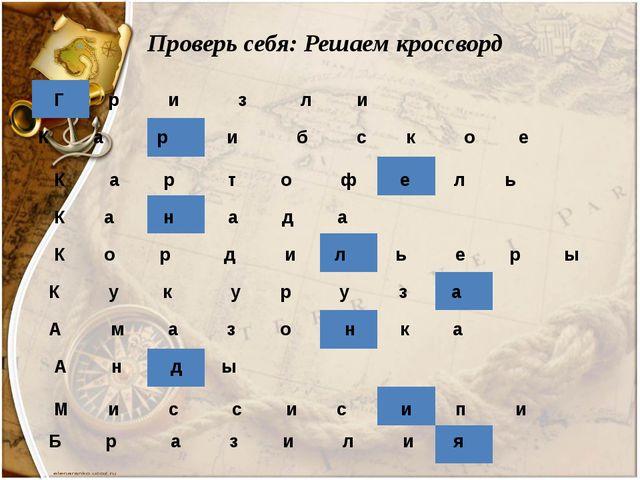 Проверь себя: Решаем кроссворд Г р и з л и К а р и б с к о е К а р т о ф е л...