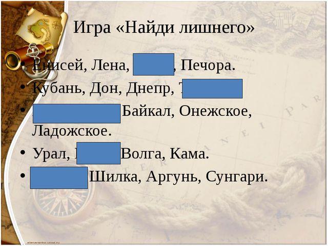 Игра «Найди лишнего» Енисей, Лена, Амур, Печора. Кубань, Дон, Днепр, Терек. К...