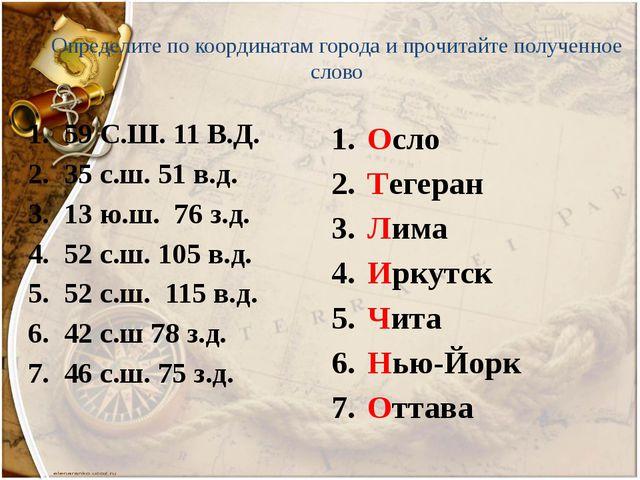 Определите по координатам города и прочитайте полученное слово 59 С.Ш. 11 В.Д...
