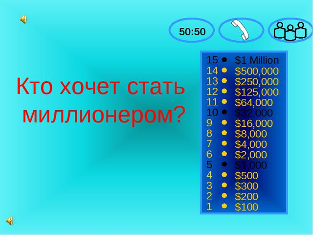 15 14 13 12 11 10 9 8 7 6 5 4 3 2 1 $1 Million $500,000 $250,000 $125,000 $64...