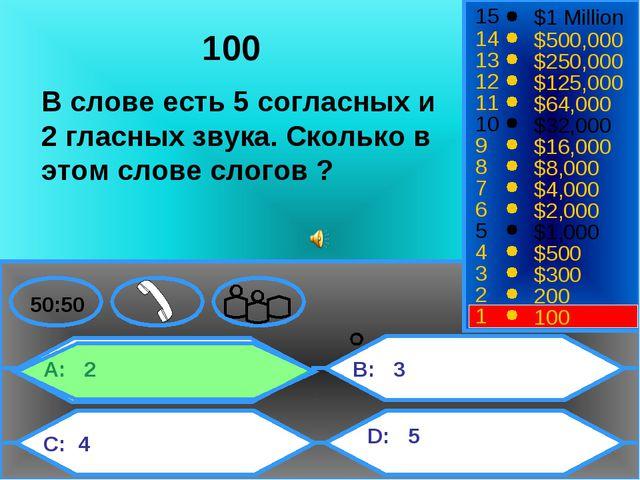 A: 2 C: 4 B: 3 D: 5 50:50 15 14 13 12 11 10 9 8 7 6 5 4 3 2 1 $1 Million $500...