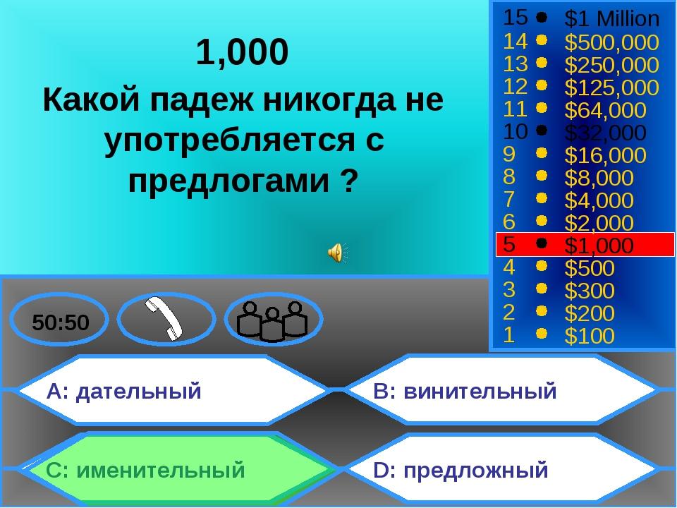 A: дательный C: именительный B: винительный D: предложный 50:50 15 14 13 12 1...