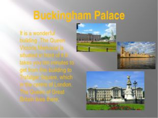 Buckingham Palace It is a wonderful building .The Queen Victoria Memorial is